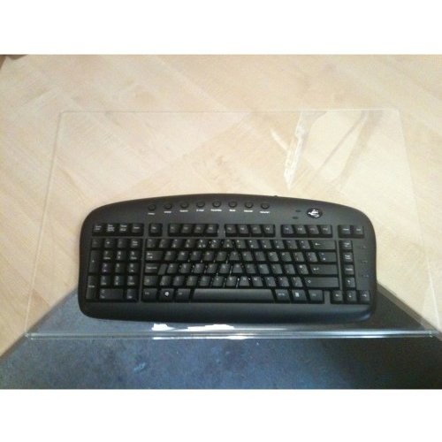 perspex shelf and keyboard