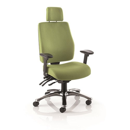 green office chair with headrest